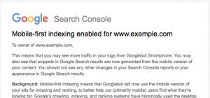 Google Mobile first index message